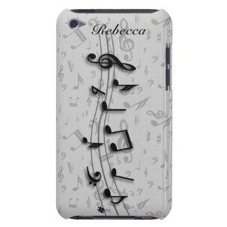 Notes musicales noires et grises personnalisées étuis iPod touch