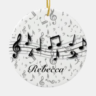 Notes musicales noires et grises personnalisées ornement rond en céramique