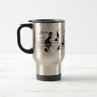 Notes musicales noires et grises personnalisées mug de voyage en acier inoxydable