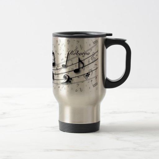 Notes musicales noires et grises personnalisées mugs à café