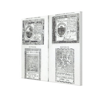 Notes of the Continental Currency Stretched Canvas Prints