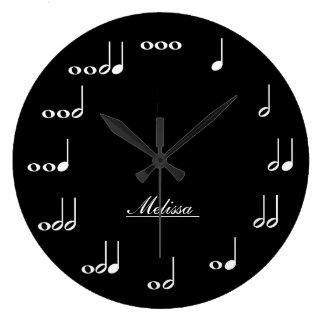 Notes personnalisées de musique grande horloge ronde