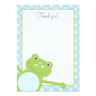 Notes plates de Merci de saut de Froggy bleu de Carton D'invitation 12,7 Cm X 17,78 Cm