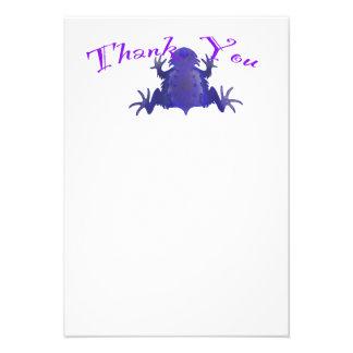 Notes pourpres de Merci de grenouille Invitations Personnalisées