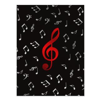 notes rouges et argentées de musique carton d'invitation  16,51 cm x 22,22 cm