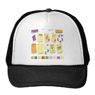 Notes set design mesh hats