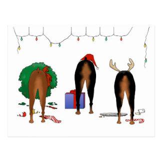 Nothin' Butt A Doberman Christmas Postcard
