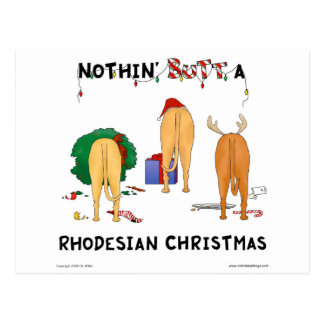Nothin' Butt A Rhodesian Christmas Postcard