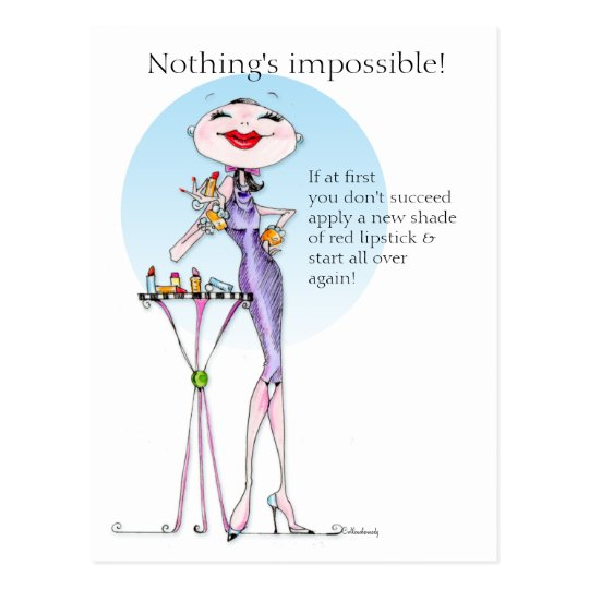 Nothing is impossible funny woman humour post card