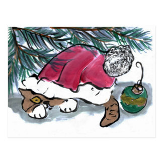 Nothing to See Here say Kitten in Santa Hat Postcard