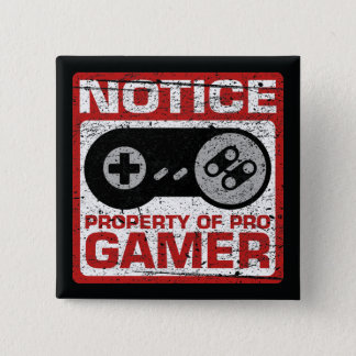 Notice Property Of Pro Gamer 2 Inch Square Button