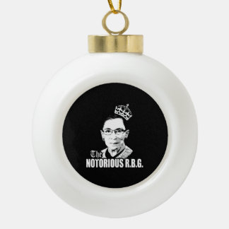 Notorious RBG Ceramic Ball Christmas Ornament
