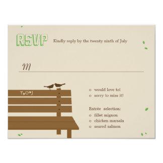 Notre banc épousant des cartes de RSVP /Response Carton D'invitation 10,79 Cm X 13,97 Cm