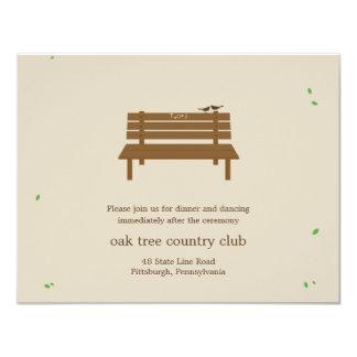 Notre carte de réception de mariage de banc carton d'invitation 10,79 cm x 13,97 cm