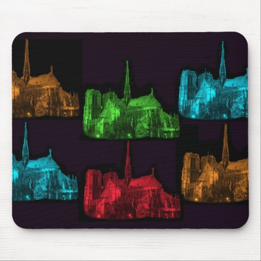 Notre Dame at Night Collage Mousepad