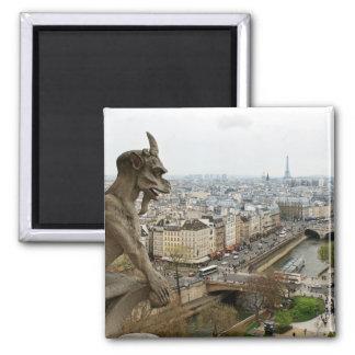 Notre Dame de Paris chimera Square Magnet