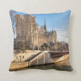 Notre Dame de Paris In The Winter Sun Throw Pillow