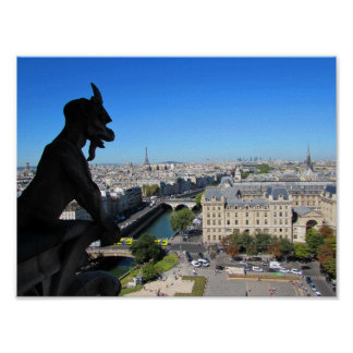 Notre Dame Gargoyle and View of Paris Poster