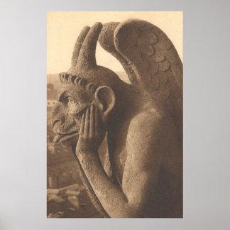 Notre Dame Gargoyle Chimera Poster