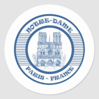 NOTRE-DAME PARIS BLUE CLASSIC ROUND STICKER