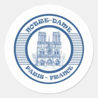 NOTRE-DAME PARIS BLUE CLASSIC ROUND STICKER