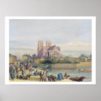 Notre Dame, Paris (w/c on paper) Poster
