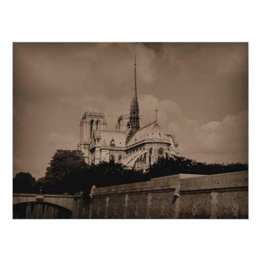 Notre Dame - Sepia Poster