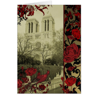 Notre Dame with Vintage Roses Greeting Card