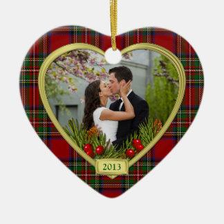 Notre premier de Noël Noël de photo de tartan Ornement Cœur En Céramique