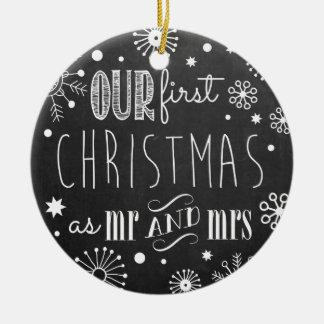 Notre premier Noël comme M. et Mme Ornament Ornement Rond En Céramique