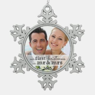Notre premier Noël comme M. et Mme Snowflake Ornement Flocon De Neige Pewter