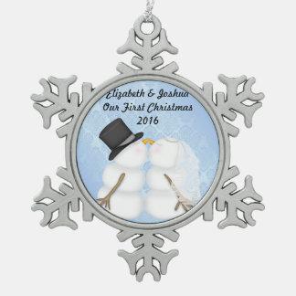 Notre premier Noël marié épousant le fiançailles Ornement Flocon De Neige Pewter