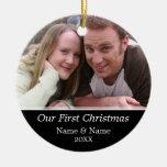 Notre première photo de Noël - à simple face Ornements De Noël