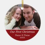 Notre première photo de Noël - à simple face Décorations Pour Sapins De Noël