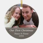 Notre première photo de Noël - à simple face Ornements