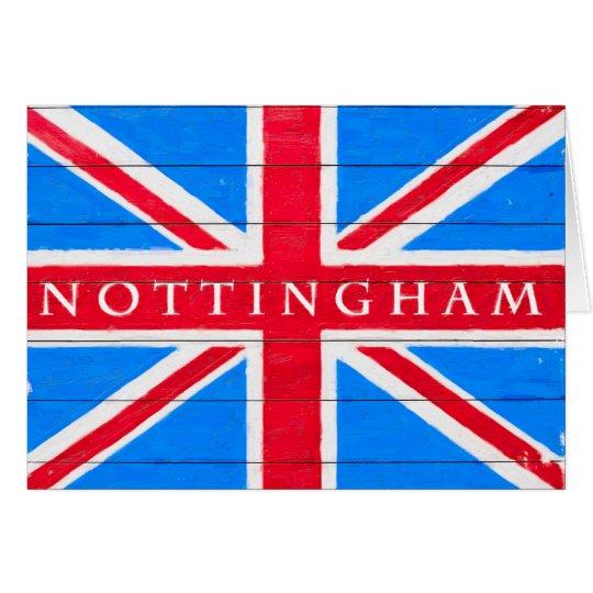 Nottingham - Vintage British Union Jack Flag Card