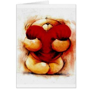 Nounours vintage avec le coeur carte de vœux