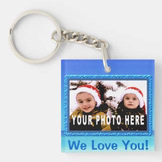 Nous vous aimons image Keychains avec le joli cadr Porte-clé Carré En Acrylique Une Face