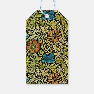 Nouveau Blue and Orange Flowers on Vine Gift Tags