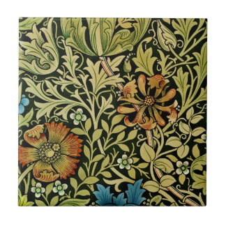 Nouveau Blue and Orange Flowers on Vine Tile