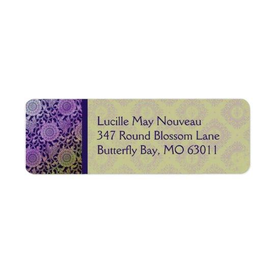 Nouveau Butterflies in Purple & Olive Return Address Label