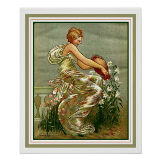 "Nouveau ""Girl with Urn"" Poster by George Barse"