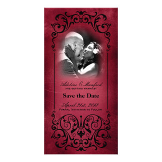 Nouveau Victorian: Red & Black Save the Date Picture Card