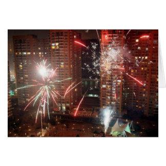 Nouvel an feu d artifice - carte de vœux