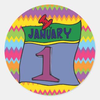 Nouvelle année 1er janvier autocollants ronds