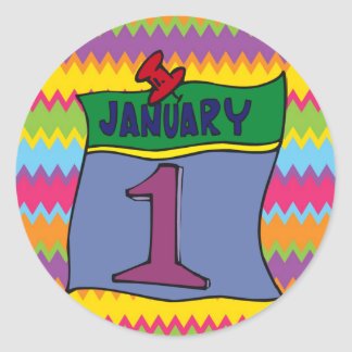 Nouvelle année 1er janvier sticker rond