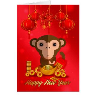 Nouvelle année chinoise, année du singe carte de vœux
