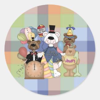 Nouvelle année de Beary Sticker Rond