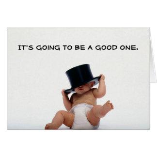 Nouvelle année de bébé avec l'invitation de chapea carte de vœux