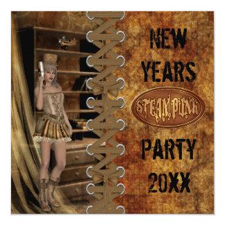 Nouvelles années de partie de Steampunk Carton D'invitation 13,33 Cm